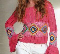 Crochê Decora & Veste: Blusa Com Gráfico #3
