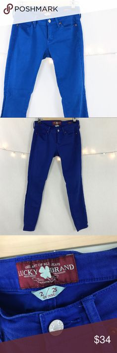 """LUCKY BRAND CHARLIE SKINNY STRETCH JEANS Size 2/25 LUCKY BRAND ROYAL BLUE """"CHARLIE SKINNY"""" STRETCH JEANS WomansSize 2/25  Waist 15' Rise 7"""" Inseam 29"""" Lucky Brand Jeans Skinny"""