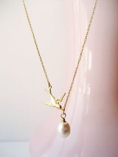 Gold Bridal Necklace Wedding Necklace Bridesmaid Gift by NoonOnTheMoon, $19.00 #weddings