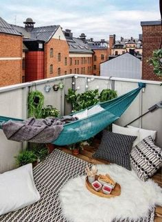 Hammock Balcony and other interior design ideas - 15 examples of how to create a little paradise - Garten & Balkon - Design Rattan Furniture Apartment Balcony Decorating, Apartment Balconies, Cool Apartments, Small Balcony Decor, Small Terrace, Balcony Ideas, Small Balconies, Tiny Balcony, Small Patio