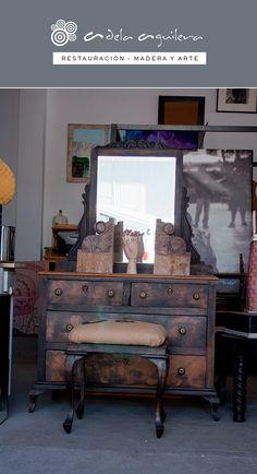 Antiguo tocador, coqueta, mueble, restaurado, rechapado, madera, pintura decorativa, espejo, mirror, spiegel, Restaurierung, Wood, Holz, Möbel, antique,