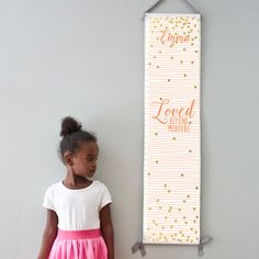 "Custom/ Personalized pink striped and gold hearts ""Loved beyond measure"" canvas growth chart for girl's room by GusAndLula on Etsy https://www.etsy.com/listing/235732843/custom-personalized-pink-striped-and"
