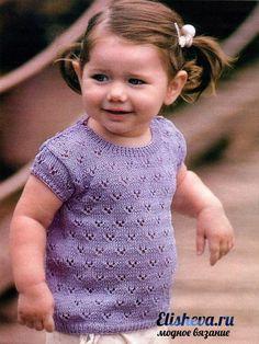 Ажурная кофточка с коротким рукавом для маленькой девочки вязаная спицами