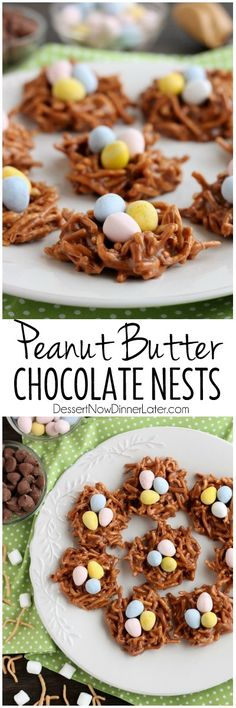 Peanut Butter Chocolate Nests are so quick to whip up, for a chewy, chocolatey, Easter treat! Ingredients ¼ cup butter to 5 cups mini marshmallows (about half of a bag) ½ cup Guittard Mil… Holiday Desserts, Holiday Baking, Holiday Treats, Holiday Recipes, Easter Desserts, Easter Dinner, Easter Brunch, Easter Party, Easter Table