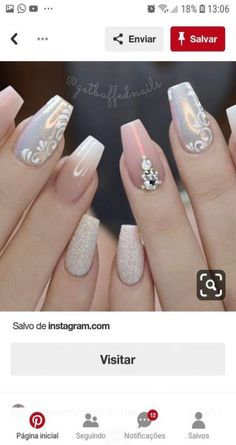 Here is a tutorial for an interesting Christmas nail art Silver glitter on a white background – a very elegant idea to welcome Christmas with style Decoration in a light garland for your Christmas nails Materials and tools needed: base… Continue Reading → Fabulous Nails, Perfect Nails, Gorgeous Nails, Pretty Nails, Fancy Nails, Gold Nails, Pink Nails, My Nails, Really Cute Nails