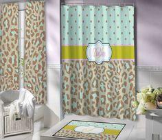 Green, Mint, Cheetah Print Personalized Shower Curtain.
