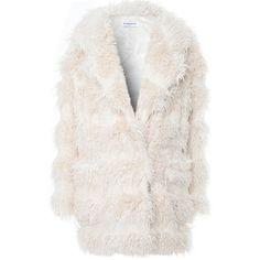 Cream Stripe Faux Fur Teddy Coat (1 320 UAH) ❤ liked on Polyvore featuring outerwear, coats, cream, striped coat, stripe coat, imitation fur coats, cream coat and fake fur coats