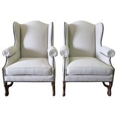 Pair of 19th Century French Os de Mouton Wing Back Chairs 1