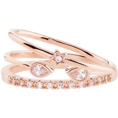 Accessorize Rose Gold 3 X Venetian Midi Ring Set ($29) ❤ liked on Polyvore featuring jewelry, rings, rose gold jewelry, accessorize jewelry, red gold ring, pink gold jewelry and red gold jewelry