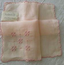 Vintage Ladies Hankie Pink Madeira Marghab Sheer Linen Embroidery Unused w Tag