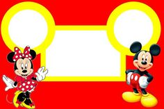 Minnie and Mickey in Red: Free Printable Birthday Invitations.