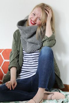 stripe top, cargo jacket, skinnys, flats, thick crochet scarf