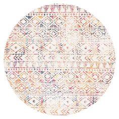 Topanga Ivory & Multicolour Tribal Pattern Round Rug
