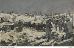 In the snow   painting by Frank Crozier at Picardie, Somme, France in 1918. Oil on canvas. Courtesy of Australian War Memorial