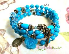Wrap Rosary Bracelet Turquoise Wrist Rosary Beaded by OURLADYBeads