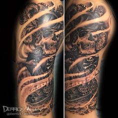 pirate sleeve by: Derrick Allen @derricktattoo863  @angryelephanttattoos  in Orlando Fl  angryelephanttattoos.com #darkart #darkartists #darktattoo #blackworkers #blackandgraytattoo #blackandgreytattoo #blackworkerssubmission #blackworker #bngtattoos #tattoos #tattoooftheday #tatuador #tattoosofinstagram #tattoocloud #tam #bngtattoosociety