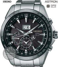 Seiko horloge Astron SSE149J1 GPS Solar Big Date herenhorloge Dual Time met Zwarte wijzerplaat