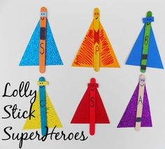 A super simple craft; Lolly Stick SuperHeroes nice and simple to make but loads of fun to create your own superheroes! Super Hero Activities, Eyfs Activities, Nursery Activities, Creative Activities, Lolly Stick Craft, Craft Stick Crafts, Preschool Crafts, Easy Crafts For Kids, Toddler Crafts