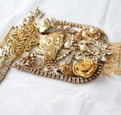 Golden Rhinestone Destash, broken vintage jewelry lot, craft repurpos