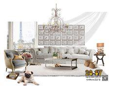 """Untitled #111"" by annie-qiu on Polyvore featuring interior, interiors, interior design, home, home decor, interior decorating, Hillsdale Furniture, Uttermost, Santoni and OKA"