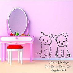 Dog And Cat Pals Vinyl Wall Decal Stickers