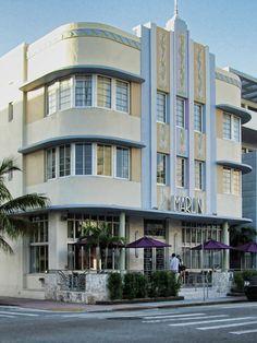 Art Deco Marlin Hotel on Collins Avenue in the South Beach Area of Miami Beach, Florida.