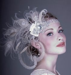 Ivory Peacock Feather Flapper Headband by bluesugarbridal on Etsy, $148.00