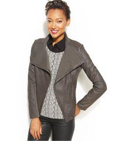 Rachel Rachel Roy Drape-Front Leather Jacket - Women - Macy's