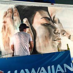 Work in progress by Kamea Hadar for @powwowworldwide in Hawaii #streetart #streetartnews @kameahadar by streetartnews