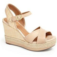 CLARKS Amelia espadrille wedge sandal nude found on NUDEVOTION #heels #shoes