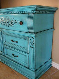 Turquoise with black glaze dresser