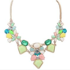 2016 New Arrival Resin Fashion Colorful Cute Charm Gem Flower Necklaces & Pendants Fashion Jewelry Woman Gift Summer style!N320