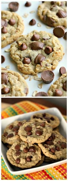 Reese's Peanut Butter Cup Chocolate Chip Oatmeal CookiesCollage