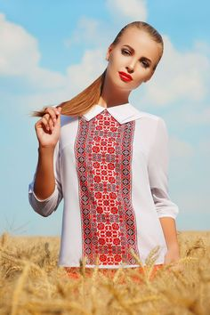 UGHI White Blouse with Red Decoration at Front