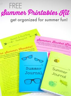 Get Organized for Summer: FREE Summer Organizing Printables Pack! #summer #printables via www.makinglemonadeblog.com
