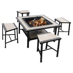 Perfect for alfresco soirees or a relaxing evening on the patio, this tiled fire table dining set brings a sophisticated touch to your outdoor decor.