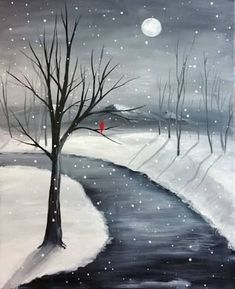 Beginner Canvas Painting Idea Winter Scene Winding Path Pretty Tree Branches And Reflections On The Snow