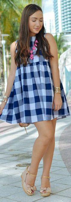 Asos Blue And White Large Gingham Smock Mini Dress