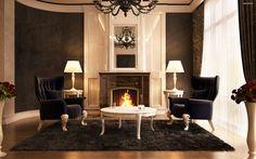 интерьер темной гостинной с корпусной мебелью венге - Поиск в Google