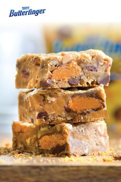 The only thing better than a BUTTERFINGER® candy bar is this recipe for Halloween Blondies made with crushed candy bar pieces. These soft and chewy treats are filled with that signature Butterfinger orange center so they're perfect for Halloween. You're going to want to enjoy this delicious dessert recipe with a big glass of milk!
