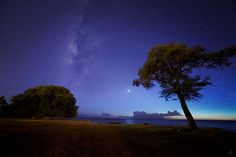 Astrophotographer Jason Matias sent in a photo of the night sky taken at Ko Olina, Oahu, Hawaii. The sun sets over the ocean, while two shooting stars zip (faintly) overhead. Photo undated.
