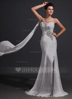 Trumpet/Mermaid One-Shoulder Sweep Train Chiffon Mother of the Bride Dress With Ruffle Lace Beading Split Front (008017368) - JJsHouse
