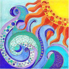 My Original Watercolor Sun Wave I
