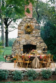 When you planned out for backyard or patio area, did you remember to include some form of outdoor fireplace to … Outdoor Rooms, Outdoor Dining, Outdoor Gardens, Outdoor Oven, Dining Area, Outdoor Kitchens, Rustic Outdoor, Outdoor Decor, Outdoor Stone