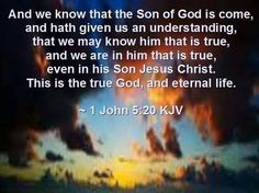 1 John 5:20 (KJV)   -And we know that the Son of God is come, and hath given us an understanding, that we may know him that is true, and we are in him that is true, even in his Son Jesus Christ. This is the true God, and eternal life.
