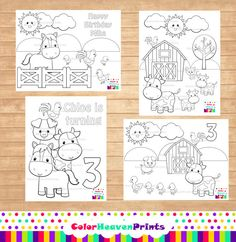 Farm Coloring Pages - Farm Party - Homeschooling - Boy Birthday - Girl Birthday on Etsy, $5.00