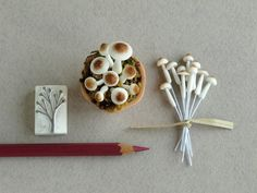 Tiny Clay Mushrooms - Miniature - Made of air dried clay and wire stems - 10 pieces per pack [XS] - Smallest size Miniature Plants, Air Dry Clay, Stems, Stuffed Mushrooms, Artsy, Miniatures, Wire, Hair Accessories, Shapes