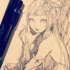 休憩〜久々にこの顔面かいた〜 #illustration #doodle #drawing #otaku #manga #イラスト #絵 #落書き #アナログ