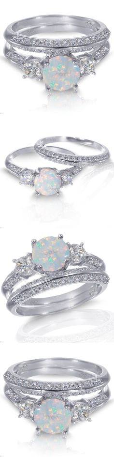 Wedding and engagement rings, circle wedding rings, white gold opal rin Wedding Rings Simple, Beautiful Wedding Rings, Silver Wedding Rings, Wedding Jewelry, Gold Wedding, Wedding White, Bridal Rings, Trendy Wedding, Dream Wedding
