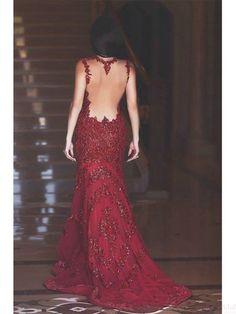 Sexy Mermaid V-neck  Floor-Length Lace Red  Prom Dress Evening Dresses #promdresses #SIMIBridal
